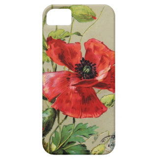 VINTAGE RED POPPY FLOWER iPhone SE/5/5s CASE