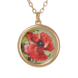 VINTAGE RED POPPY FLOWER PERSONALIZED NECKLACE