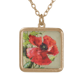 VINTAGE RED POPPY FLOWER NECKLACES