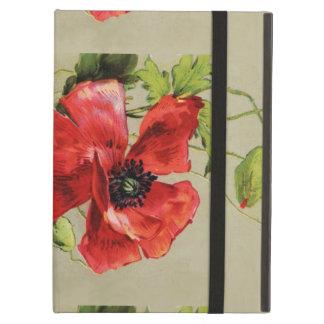 VINTAGE RED POPPY FLOWER , RUBY GEMSTONE MONOGRAM iPad AIR CASE