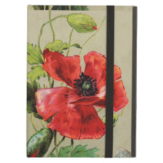 VINTAGE RED POPPY FLOWER , RUBY GEMSTONE MONOGRAM iPad AIR CASES