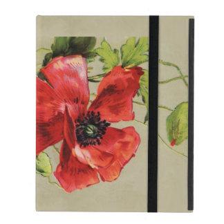 VINTAGE RED POPPY FLOWER , RUBY GEMSTONE MONOGRAM iPad COVERS