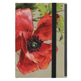 VINTAGE RED POPPY FLOWER , RUBY GEMSTONE MONOGRAM iPad MINI CASES