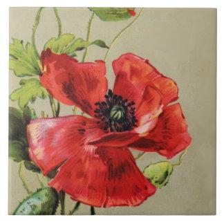 VINTAGE RED POPPY FLOWER TILE
