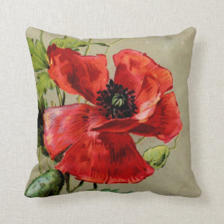 Vintage Red Poppy Throw Pillow
