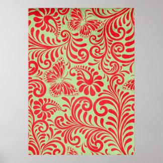 Vintage Red Print