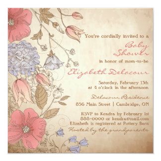 Vintage Red & Purple Flowers Baby Shower Card