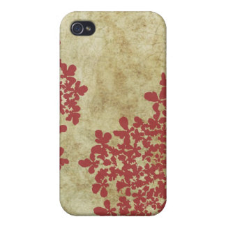 Vintage red Queen Ann's Lace Covers For iPhone 4