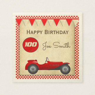 Vintage red race car and flags 100 birthday paper napkin