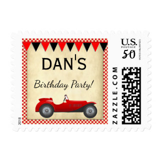 Vintage Red Race Car with flags Postage