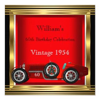 Vintage Red Racing Car Mans 60th Birthday Party 2 5.25x5.25 Square Paper Invitation Card