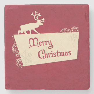 Vintage Red Reindeer and Snowflakes Christmas Stone Coaster