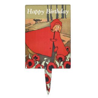 Vintage Red Riding Hood Poppy Flowers Birthday Cake Topper