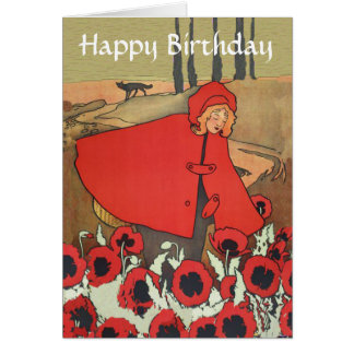 Vintage Red Riding Hood Poppy Flowers Birthday Card