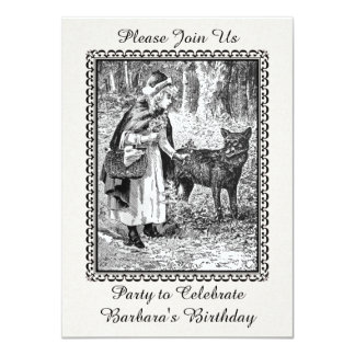 Vintage Red Riding Hood Wolf Birthday Party Card