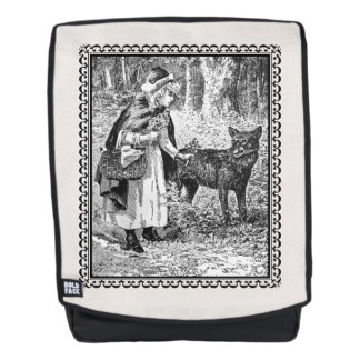 Vintage Red Riding Hood Wolf in Fancy Frame Backpack