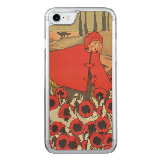 Vintage Red Riding Hood Wolf Poppy Flowers Carved iPhone 8/7 Case