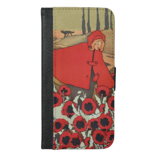Vintage Red Riding Hood Wolf Poppy Flowers iPhone 6/6s Plus Wallet Case
