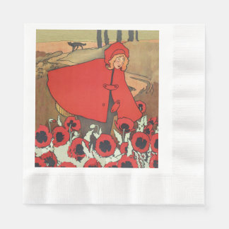 Vintage Red Riding Hood Wolf Poppy Flowers Coined Luncheon Napkin