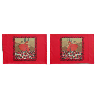 Vintage Red Riding Hood Wolf Poppy Flowers Pillow Case