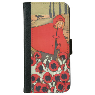 Vintage Red Riding Hood Wolf Poppy Flowers iPhone 6 Wallet Case