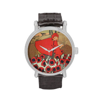 Vintage Red Riding Hood Wolf Poppy Flowers Wristwatches