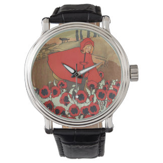 Vintage Red Riding Hood Wolf Poppy Flowers Watch