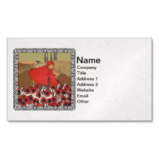 Vintage Red Riding Hood Wolf Poppy Flowers Magnetic Business Cards (Pack Of 25)