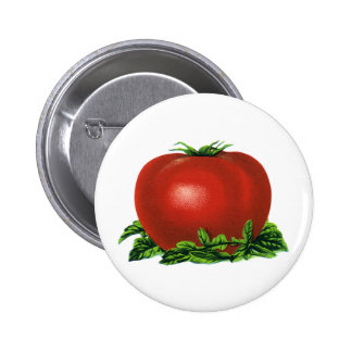 Vintage Red Ripe Tomato, Vegetables and Fruits Button