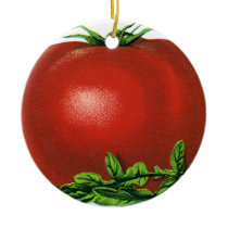 Vintage Red Ripe Tomato, Vegetables and Fruits Ceramic Ornament