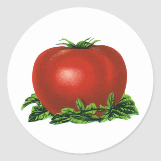 Vintage Red Ripe Tomato, Vegetables and Fruits Classic Round Sticker