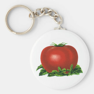 Vintage Red Ripe Tomato, Vegetables and Fruits Keychain