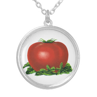 Vintage Red Ripe Tomato, Vegetables and Fruits Silver Plated Necklace