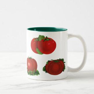 Vintage Red Ripe Tomatoes Food, Fruits, Vegetables Two-Tone Coffee Mug