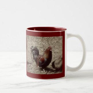 Vintage red rooster coffee mug
