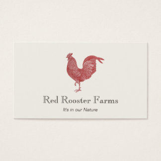 Vintage Red Rooster Farm to Table Catering 2 Business Card