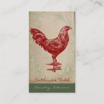 Vintage Red Rooster Shabby Chic Interior Design Business Card