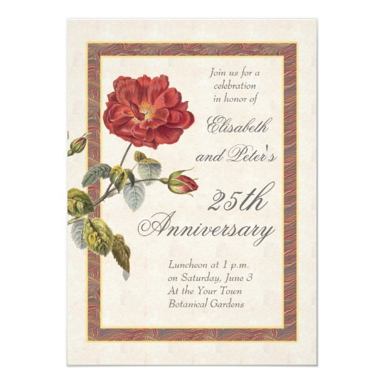 Vintage Red Rose 25th Wedding Anniversary Party Card