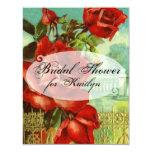 "Vintage Red Rose 4.25"" X 5.5"" Invitation Card"