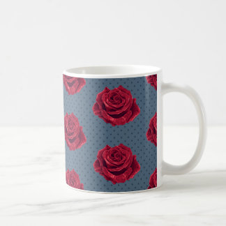 Vintage Red Rose and Navy Polka Dot Mug