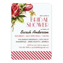 Vintage Red Rose and Stripes Pattern Invitation