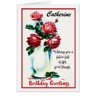 Vintage Red Rose Birthday Card