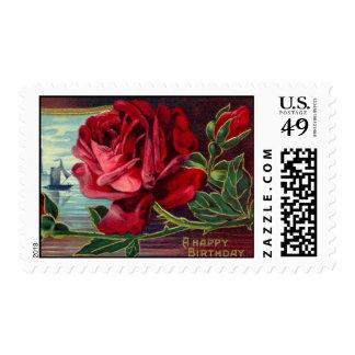 Vintage Red Rose Birthday Postage