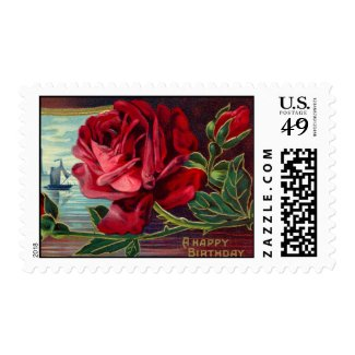 Vintage Red Rose Birthday Postage