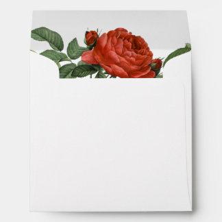 Vintage Red Rose Botanical Self-Addressed Envelope