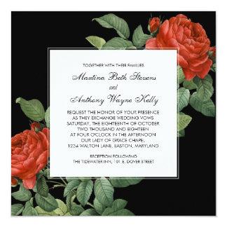 Vintage Red Rose Botanical Wedding Card