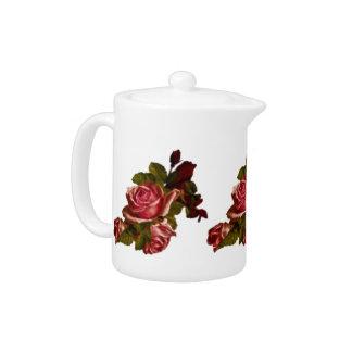 Vintage red rose bouquet teapot