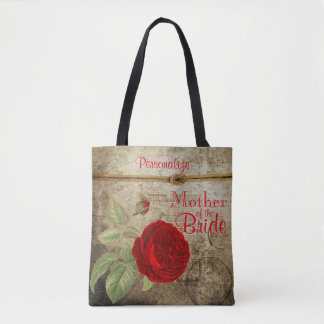 Vintage Red Rose Bridal Party Designs Tote Bag