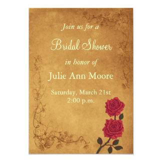 Vintage Red Rose Bridal Shower Card