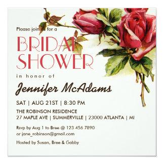 Vintage Red Rose Bridal Shower Invitation